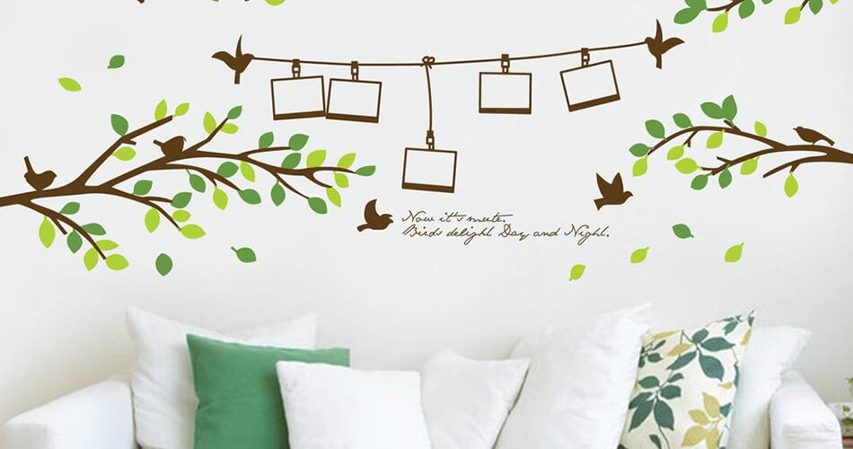 vinilo de hojas sala decoracion