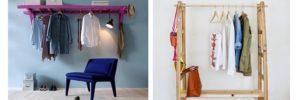 Como fabricar un perchero para ropa con una escalera de madera usada