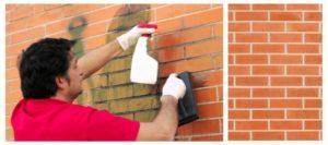 aplique la solucion de limpieza de ladrillos