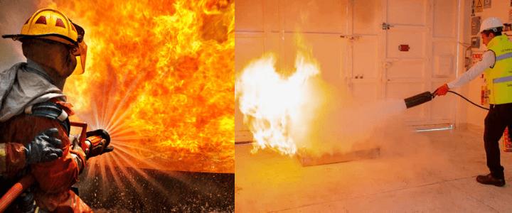 fuego en llamas siendo apagado