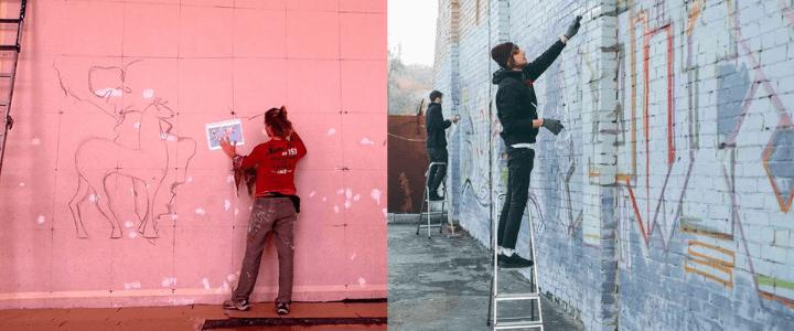 pintando murales de pared