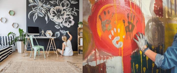 terminando de pintar mural de pared