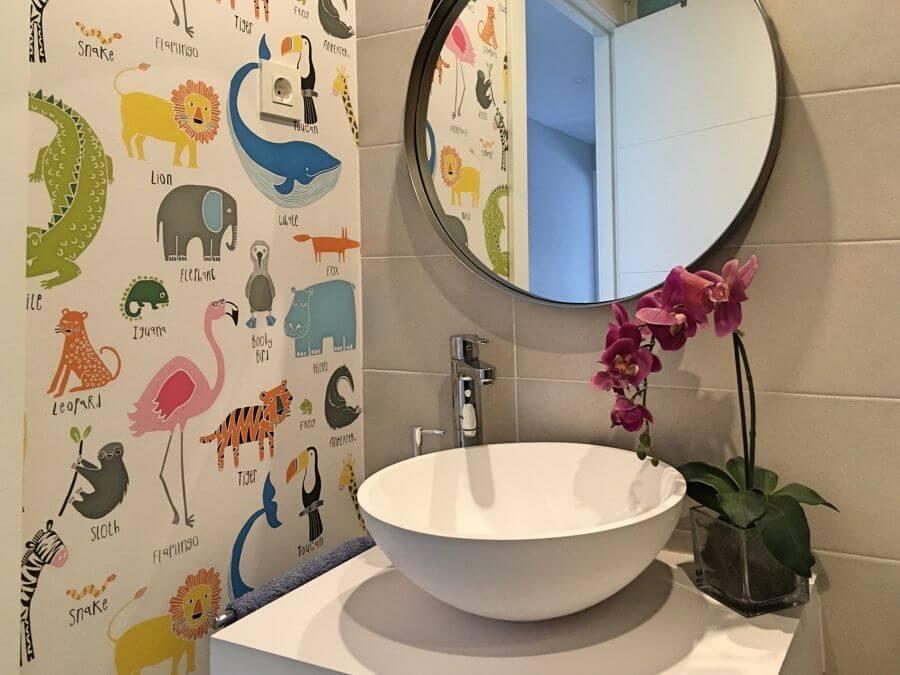 papel pintado baño niños