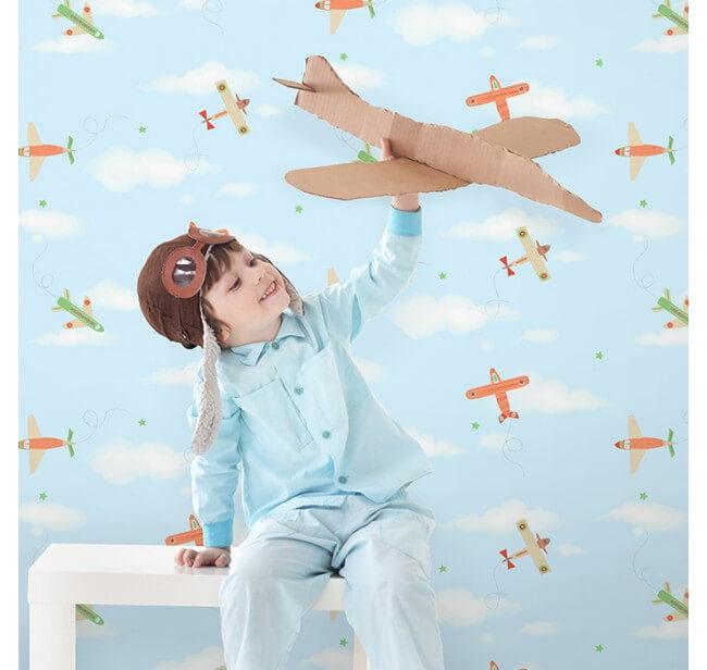 papel pintado infantil niño aviones