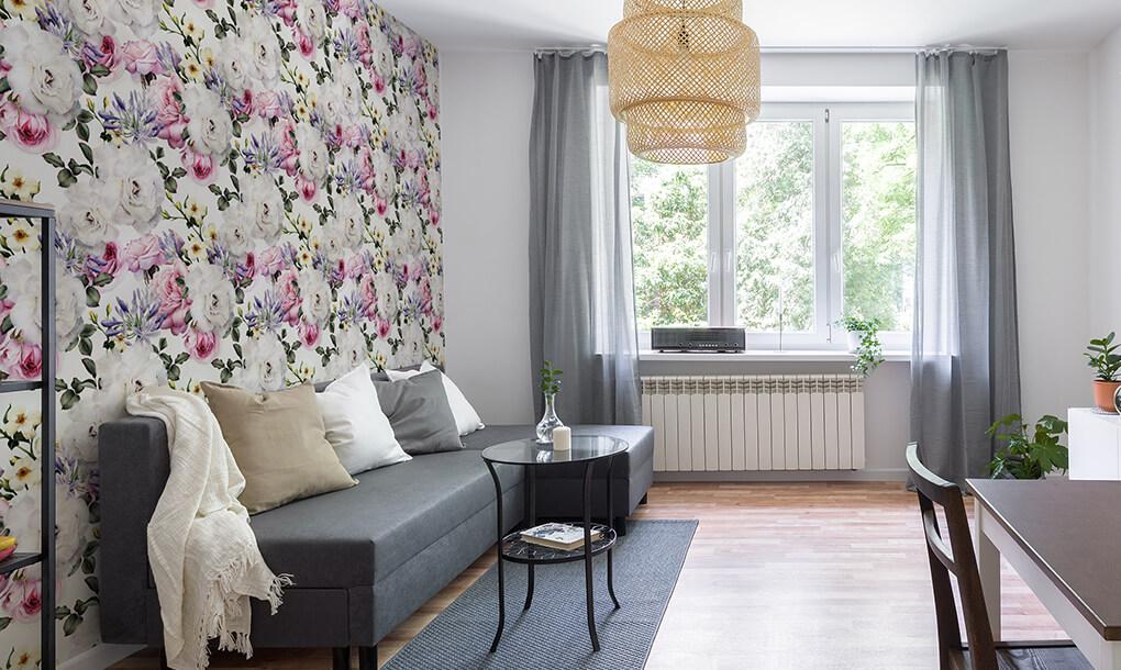 papel pintado salon floral